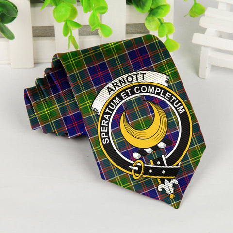 Arnott Tartan Tie with Clan Crest TH8