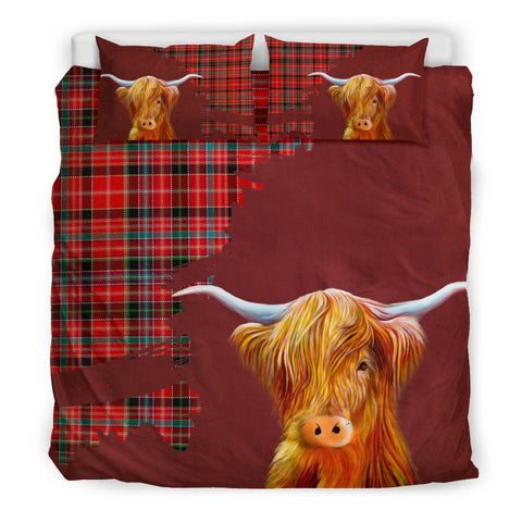 Image of Aberdeen District Tartan Scottish Highland Cow Bedding Set HJ4