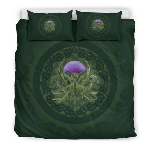Thistle Scottish Luxury Forest Green Bedding Set - Bn01