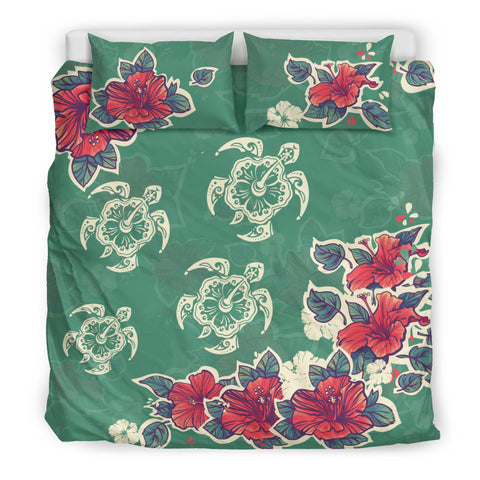 Image of hibiscus bedding set, hawaii bedding set, hawaii bedding set, hibiscus, hibiscus pattern, hibiscus pattern bedding set, turtle bedding set, turtle, hibiscus and turtle