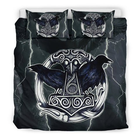 Viking Raven Thor'S Hammer Duvet Cover TH7