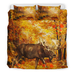 Canada Bedding Set - Moose And Maple Leaf Forest - BN04