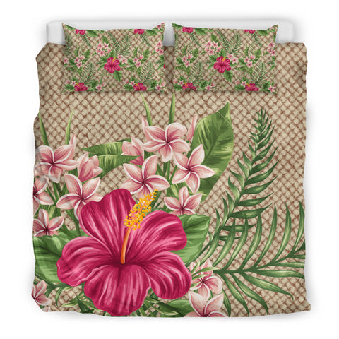 Hawaiian Lauhala with Hibiscus Bedding Set | HOT Sale