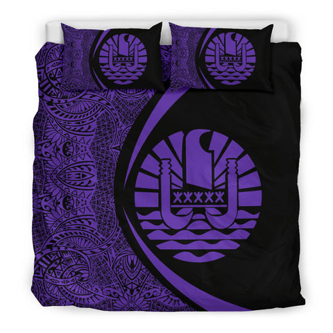 Prench Polynesia Coat Of Arms Polynesian Bedding Set - Circle Style
