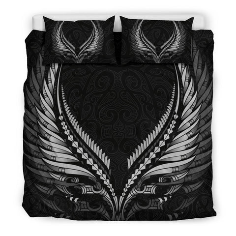 New Zealand - Maori Fern Tattoo Bedding Set B&W A7