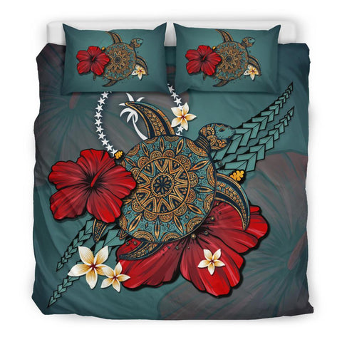 Image of Chuuk Bedding Set - Blue Turtle Tribal A02