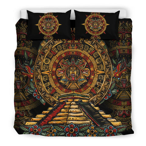 Image of Mexico Bedding Set Aztec Sun Stone Tattoo A7