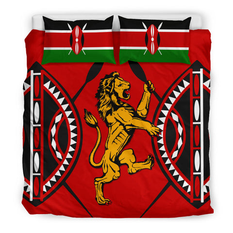 Kenya Lion Bedding Set Maasai Shield K4