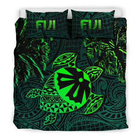 Fiji Islands Green Tapa Turtle Bedding Set