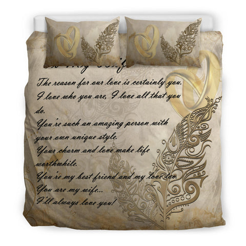 New Zealand Bedding Set - Valentine To My Wife Silver Fern A24