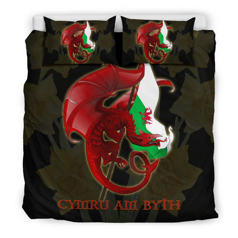 Image of Welsh Bedding Set - Welsh Myth Dragon Red and Wales Flag Daffodil A18