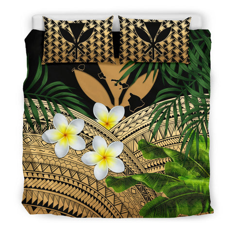 Image of Kanaka Maoli (Hawaiian) Bedding Set, Polynesian Plumeria Banana Leaves Gold | Love The World