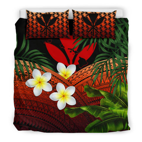 Kanaka Maoli (Hawaiian) Bedding Set, Polynesian Plumeria Banana Leaves Red | Love The World