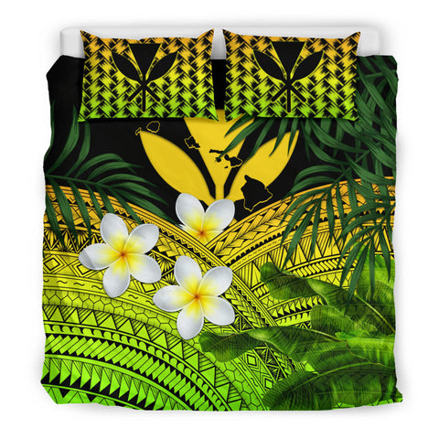 Kanaka Maoli (Hawaiian) Bedding Set, Polynesian Plumeria Banana Leaves Yellow | Love The World