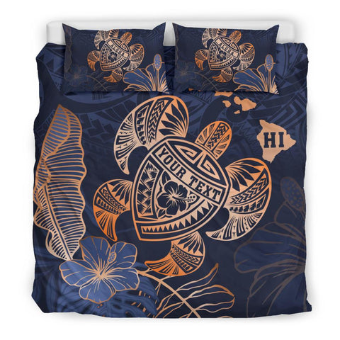 Personalized - Hawaii Polynesian Turtle Hibiscus Tropical Bedding Set