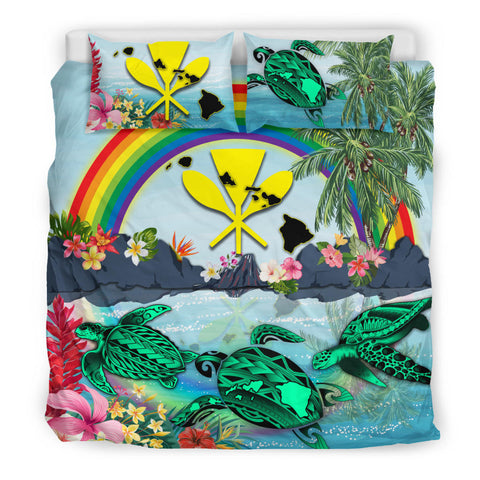 Kanaka Maoli Hawaii Bedding Set, Green Sea Turtle Polynesian Rainbow K8