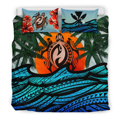 Kanaka Maoli (Hawaiian) Bedding Set - Polynesian Waves Turtle Coconut Tree And Hibiscus | Love The World