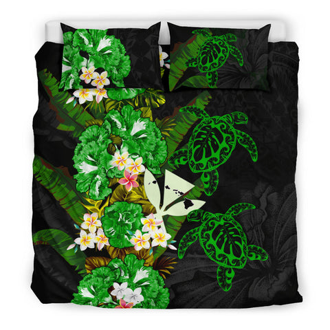 Kanaka Maoli (Hawaiian) Bedding Set - Polynesian Hibiscus Turtle Palm Leaves Green I Love The World