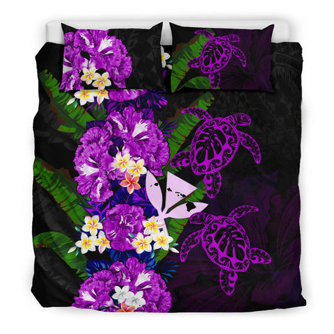 Kanaka Maoli (Hawaiian) Bedding Set - Polynesian Hibiscus Turtle Palm Leaves Purple I Love The World