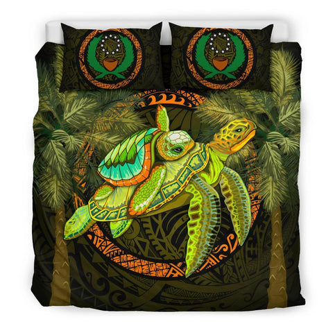 Image of Pohnpei Bedding Set - 1sttheworld Turtle Palm Tree - BN39