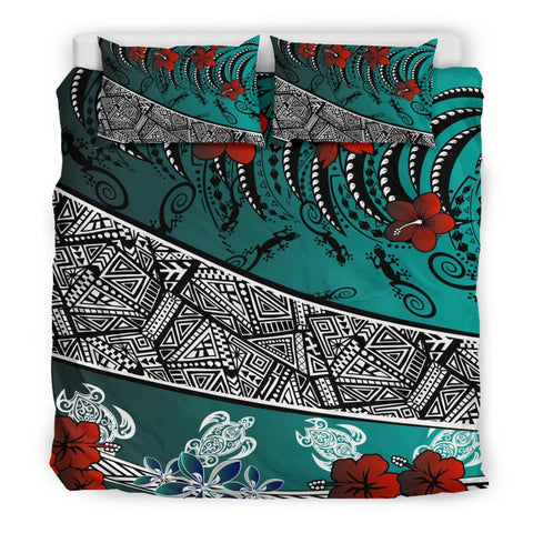 Polynesian Bedding Set - Lizard And Turtle Green - BN20