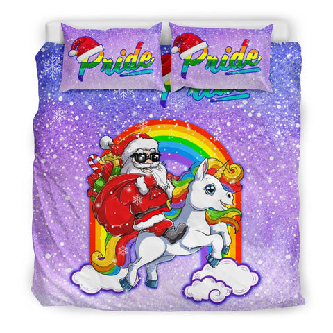 Image of Rainbow Santa Claus And Unicon - Bedding Set