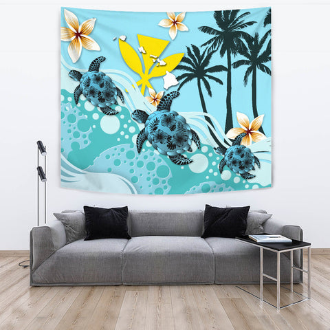 Hawaii Tapestry - Blue Turtle Hibiscus A24