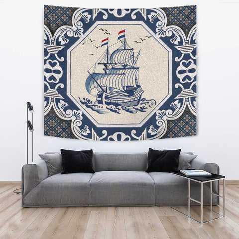 Nederland Tapestry - Dutch Boat Delft Blue