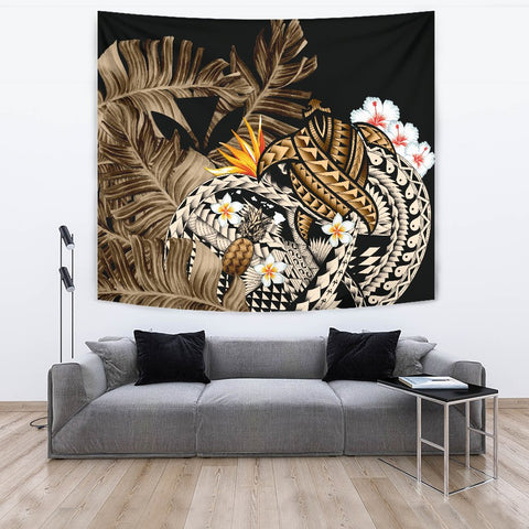 Kanaka Maoli (Hawaiian) Tapestry, Polynesian Pineapple Banana Leaves Turtle Tattoo Gold