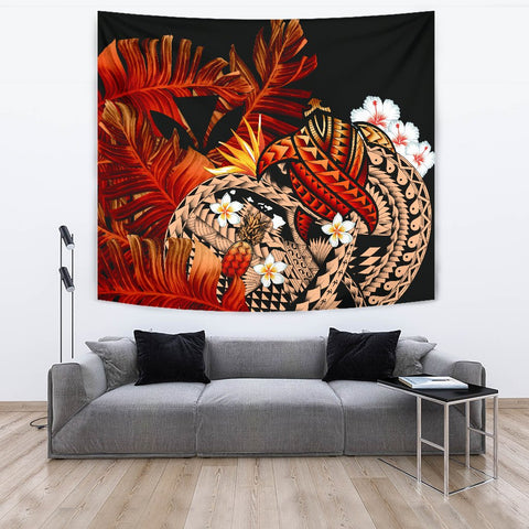 Image of Kanaka Maoli (Hawaiian) Tapestry, Polynesian Pineapple Banana Leaves Turtle Tattoo Red