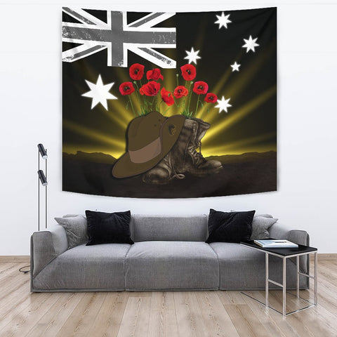 1stTheWorld Australia Anzac Day Tapestry - Lest We Forget Hat And Boots Poppies