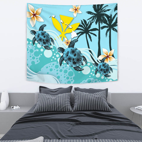 Image of Hawaii Tapestry - Blue Turtle Hibiscus A24