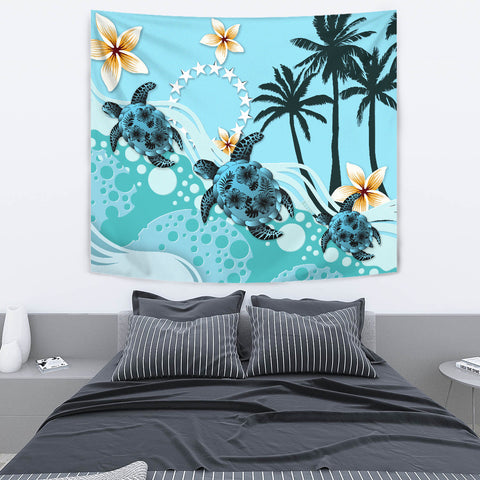 Cook Islands Tapestry - Blue Turtle Hibiscus A24