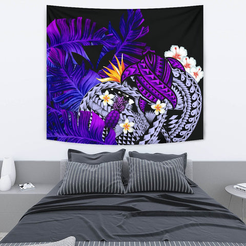 Kanaka Maoli (Hawaiian) Tapestry, Polynesian Pineapple Banana Leaves Turtle Tattoo Purple
