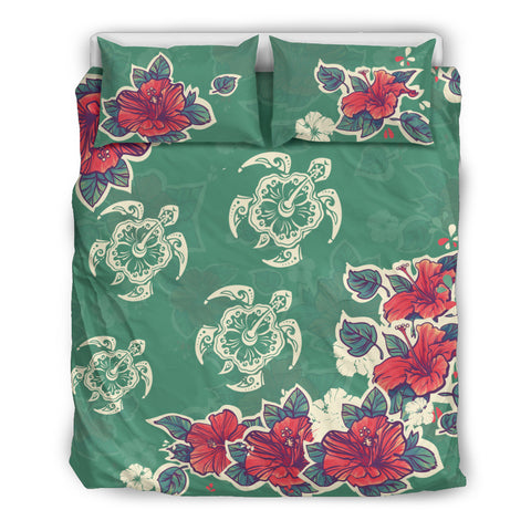 hibiscus bedding set, hawaii bedding set, hawaii bedding set, hibiscus, hibiscus pattern, hibiscus pattern bedding set, turtle bedding set, turtle, hibiscus and turtle