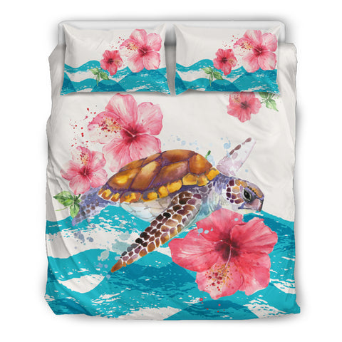 Hawaiian Bedding Set - Vintage Turtle Hibiscus Ocean Aloha Duvet Cover A0