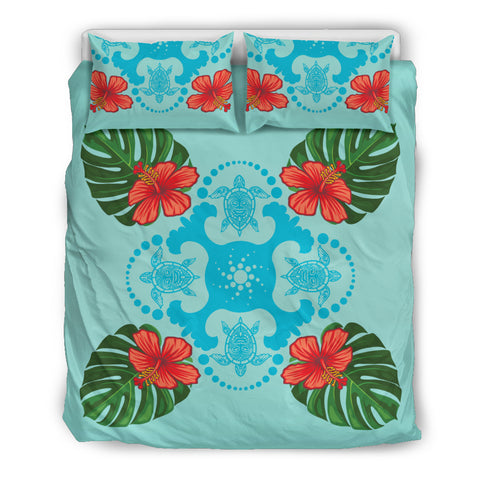 Hawaii Bedding Set, Hibiscus Turtle Duvet Cover And Pillow Case TH7