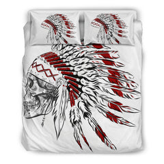 Native American Bedding Set - Hand Draw Native American Indian with Headdress