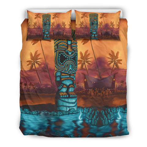 Image of Hawaii Bedding Set, Tropical Palm Tree Tiki Duvet Cover K5