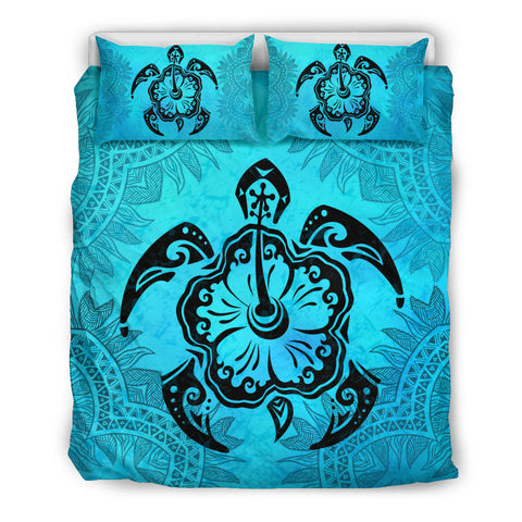 Tribal Turtle Hibiscus Turquoise Bedding Set | Love The World