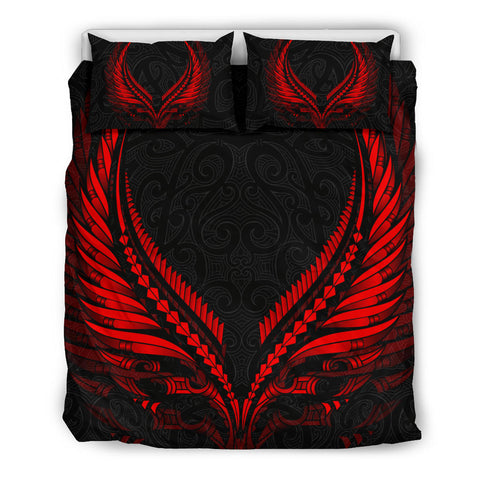 Image of New Zealand - Maori Fern Tattoo Red Bedding Set A7