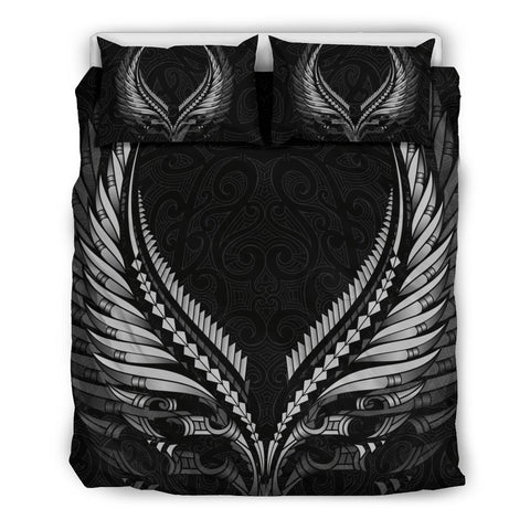 Image of New Zealand - Maori Fern Tattoo Bedding Set B&W A7