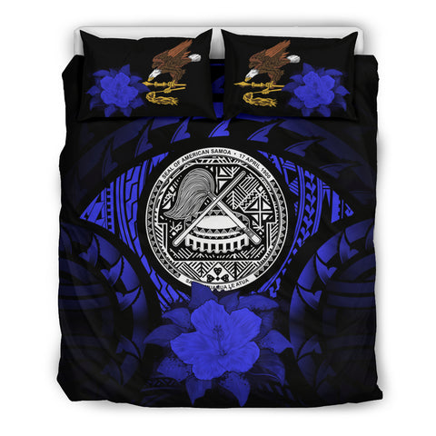 American Samoa Blue Hibiscus Bedding Set A02
