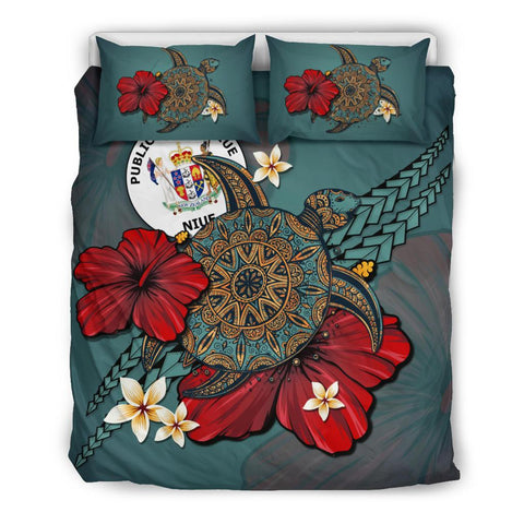 Image of Niue Bedding Set - Blue Turtle Tribal A02
