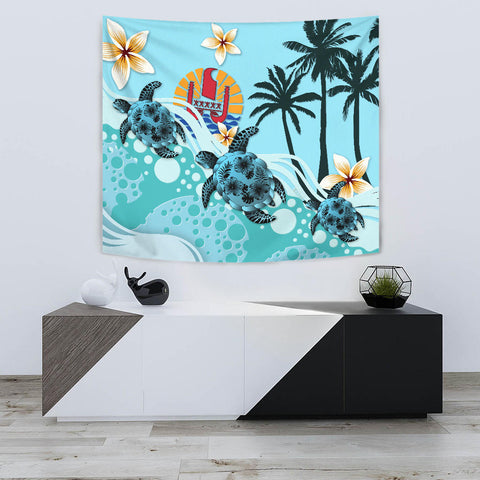 Tahiti Tapestry - Blue Turtle Hibiscus A24