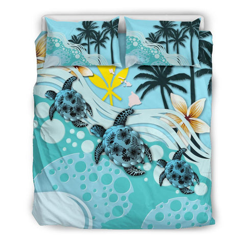 Image of Kanaka Maoli (Hawaiian) Bedding Set - Blue Turtle Hibiscus
