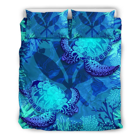 Image of Polynesian Hawaii Turtle Bedding Set - Kanaka Maoli Flag - BN12