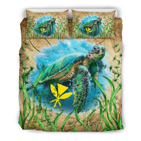 Image of Hawaii Kanaka Maoli Bedding Set Sea Turtle Vintage K4