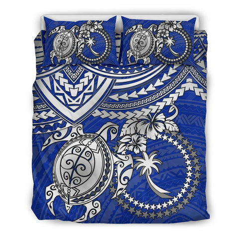 Chuuk Polynesian Bedding Set  - White Turtle (Blue) - BN1518