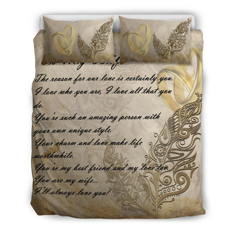 Image of New Zealand Bedding Set - Valentine To My Wife Silver Fern | Love The World